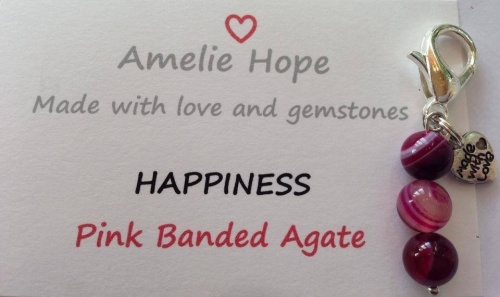 3 Bead Charm Pink Banded Agate