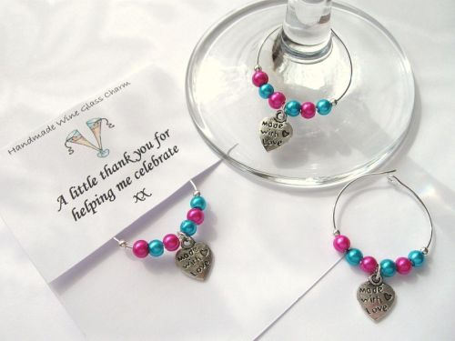 5 X Wine Gl Charms Thank You Wedding Hen Party Gifts Cc1285