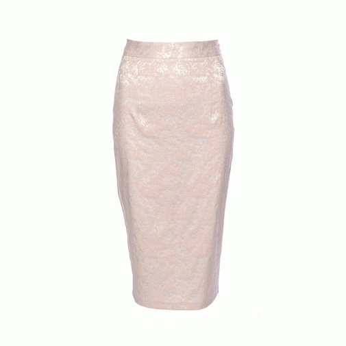 Pink Jacquard Pencil Skirt