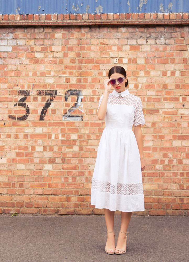 Embroidered midi short-sleeve shirt dress