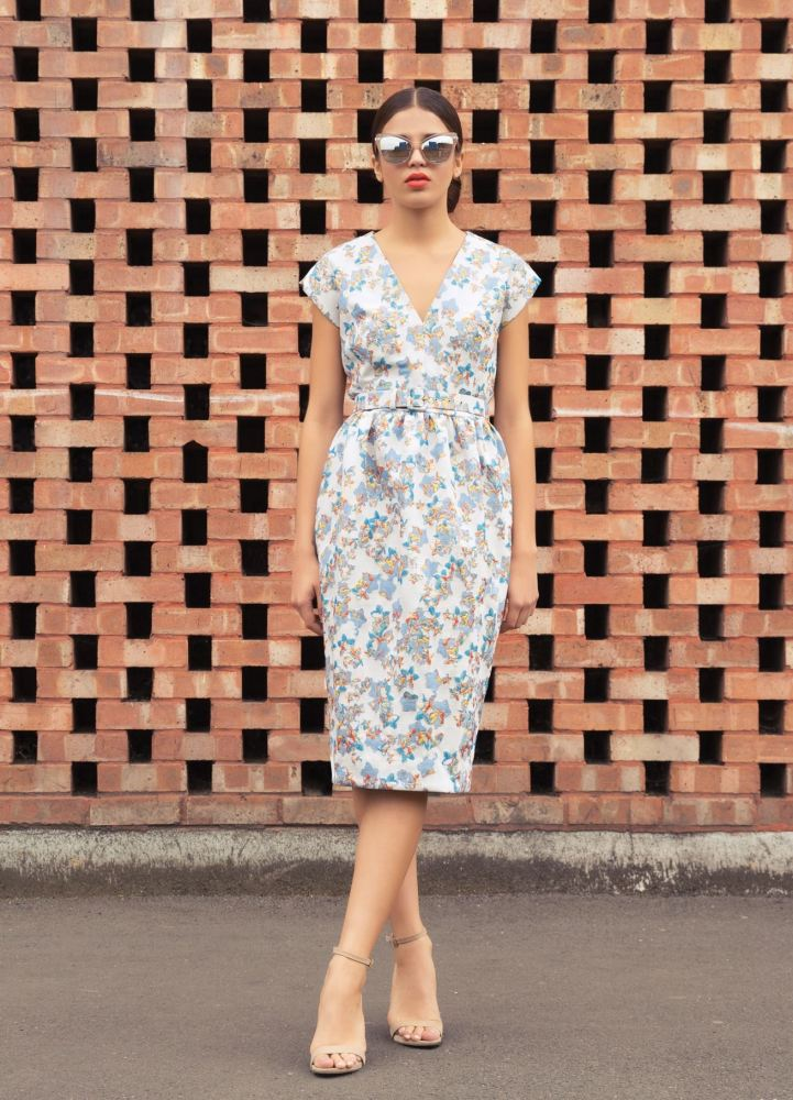 Floral fitted pencil dress