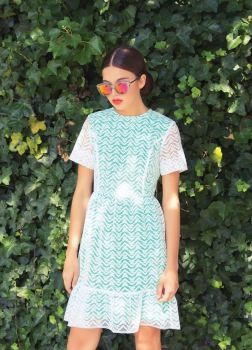 Embroidered Organza t-shirt dress