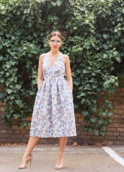 Floral cross over midi dress