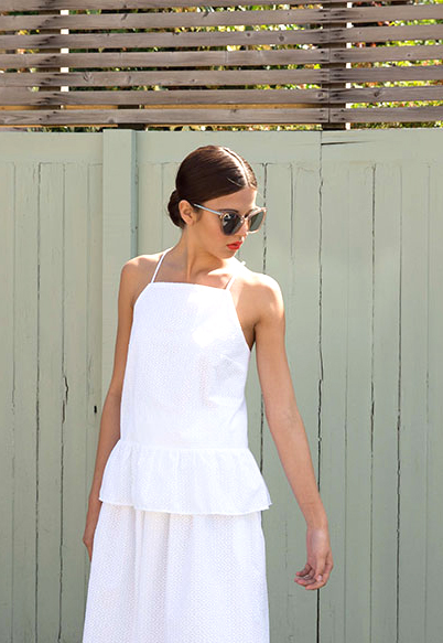 Embroidered top with frill