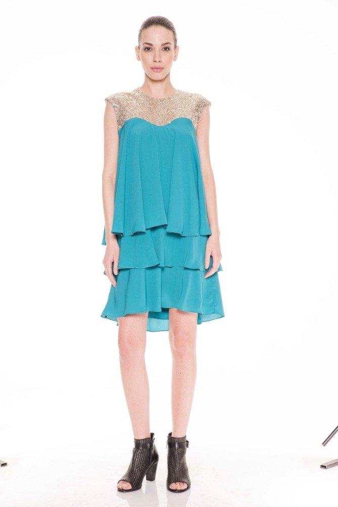 Sequin Laura Dress - Turquoise