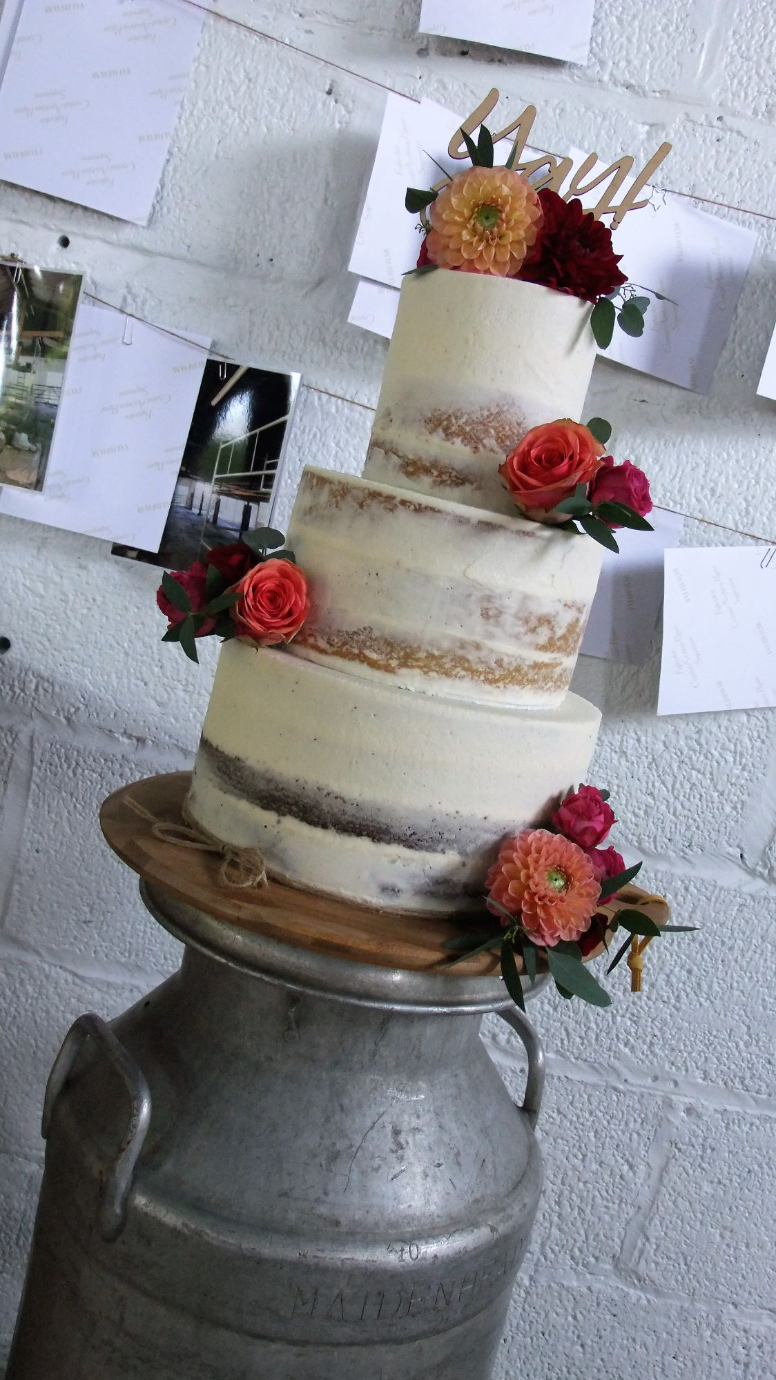 semi naked wedding cakes Bristol