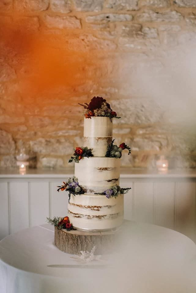 semi naked wedding cakes