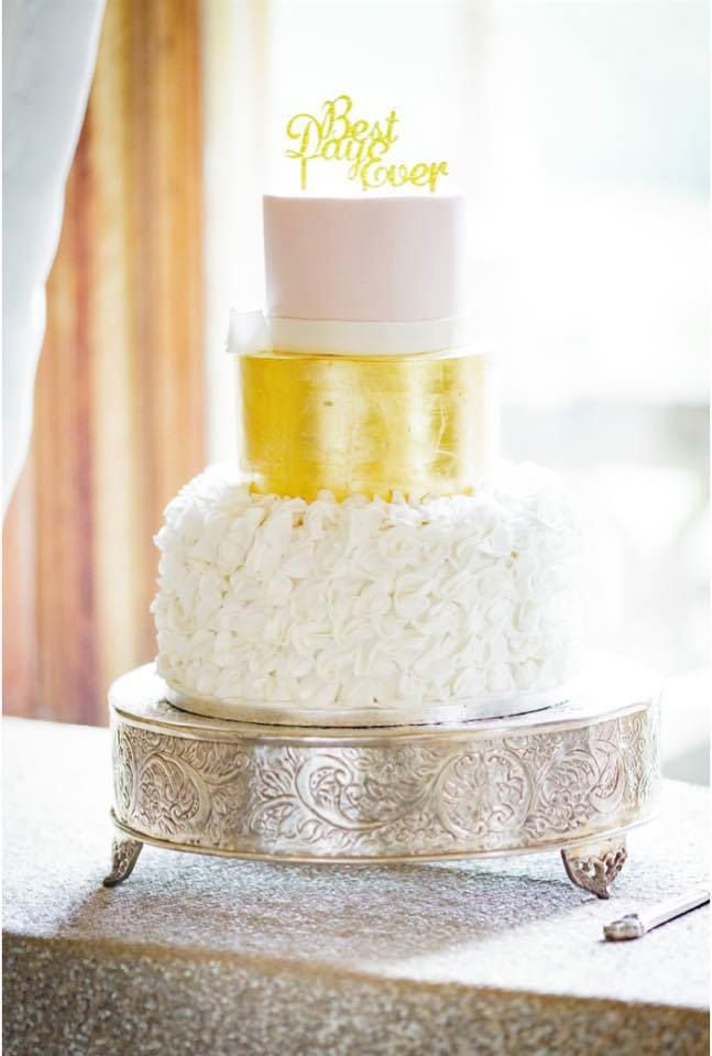 Gold leaf wedding cakes
