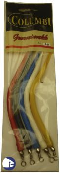 Rubber Eels - pack of 5 assorted colours (size 7-0)