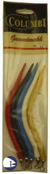 Rubber Eels - pack of 5 assorted colours (size 9-0)