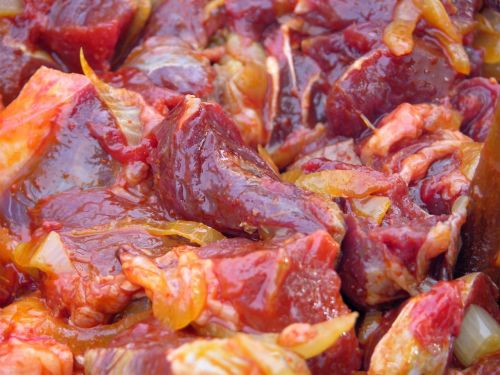 Diced Goat Meat in Caribbean Marinade