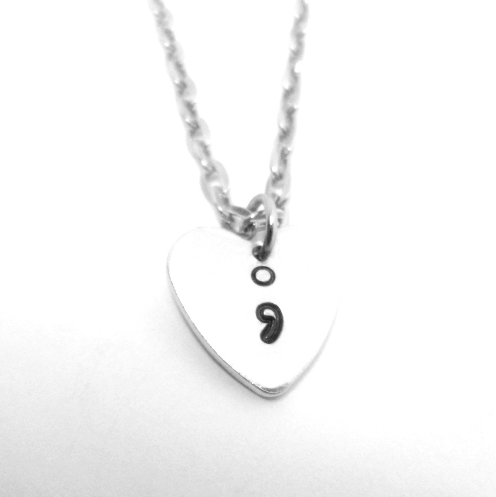 Semicolon Heart Necklace
