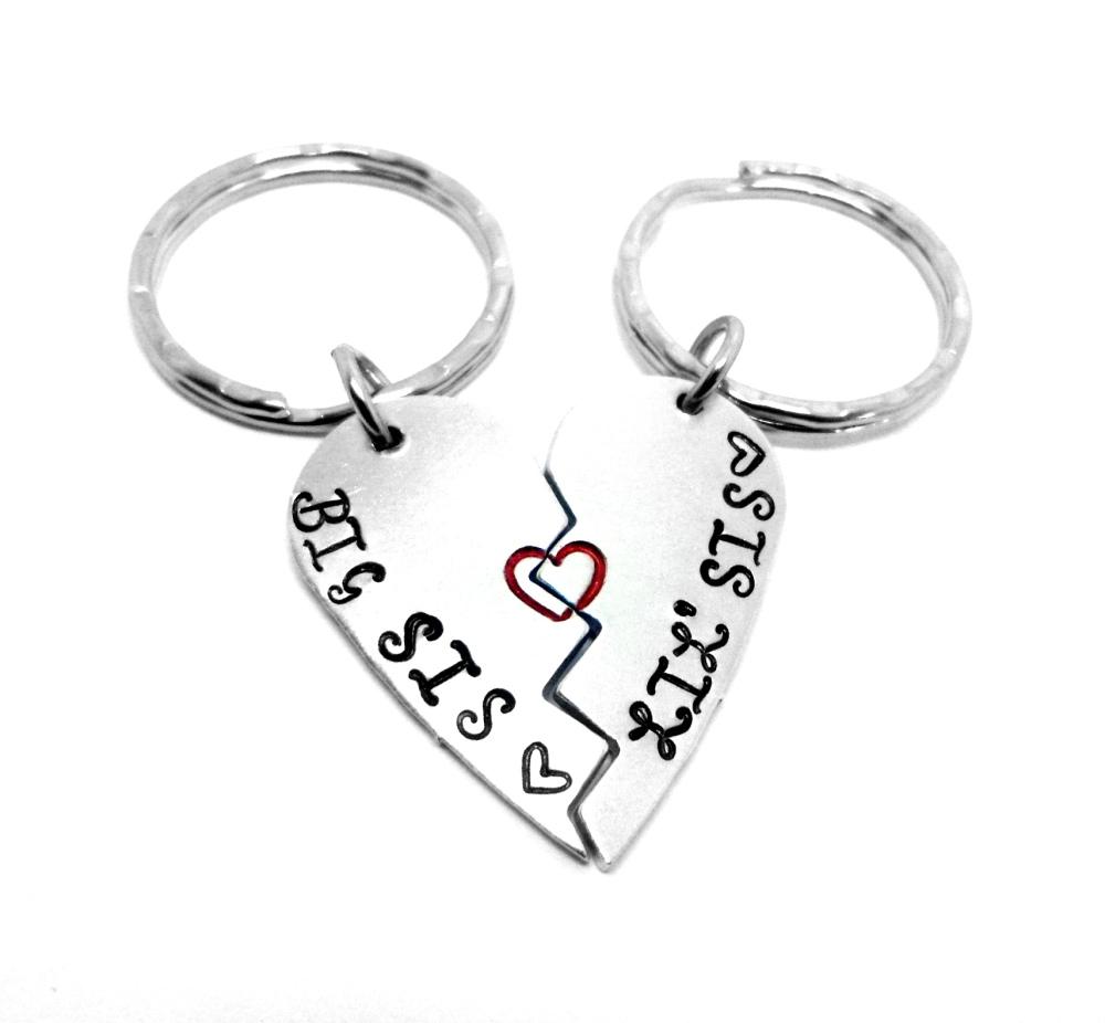 Big Sis.. Lil' Sis... Split Heart Keyrings