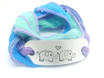 Elephant Wrap Bracelet (Purple/Blue)