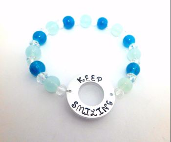 Washer Beaded Bracelet - Keep Smiling