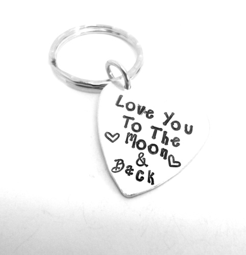 'Love You To The Moon & Back' Heart Keyring