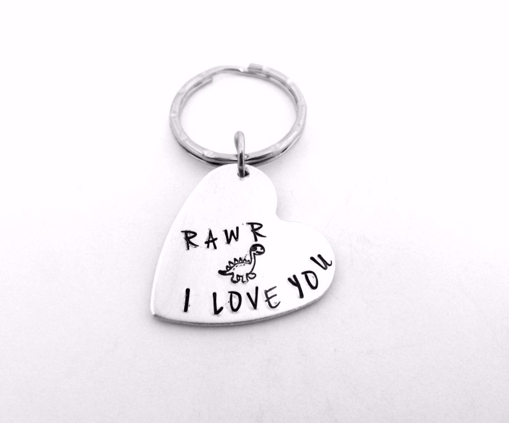 Rawr Means I Love You - Dino Keyring