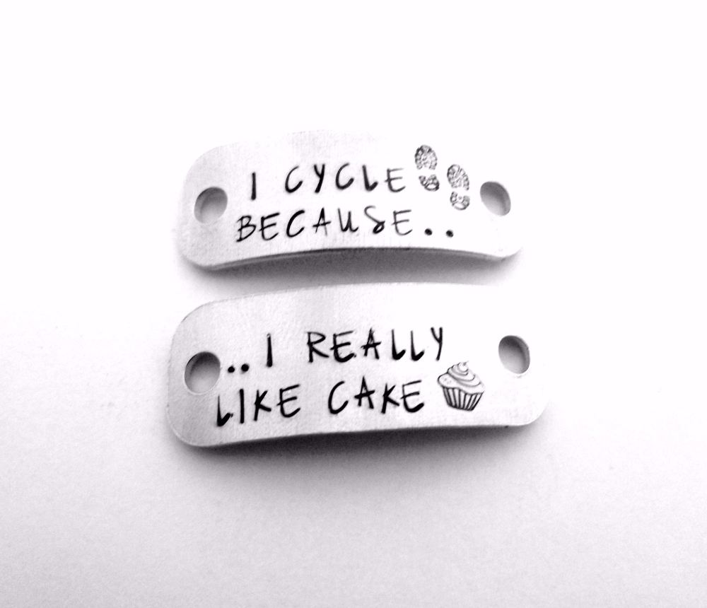 I Cycle Because... I Really Like Cake Trainer Tags