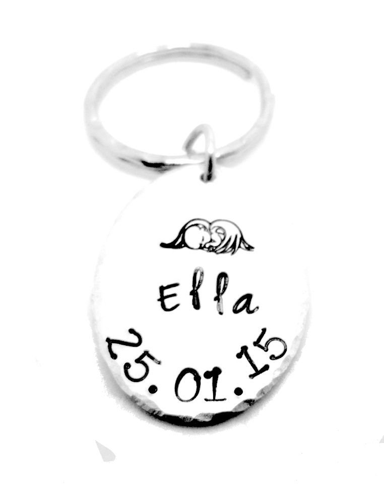 Baby Angel Keyring with Name & Date