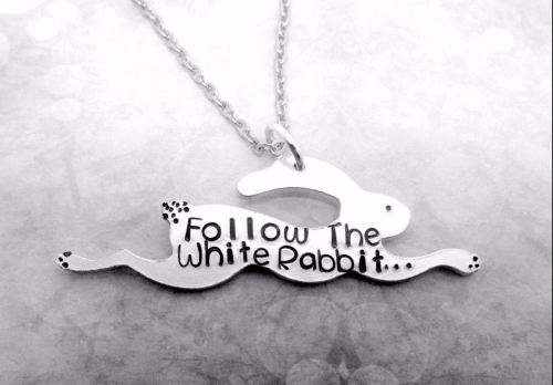 Follow The White Rabbit ... Jumping bunny Necklace