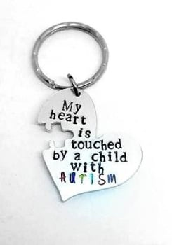 Autism Heart Keyring - My heart is touched by a child with AUTISM