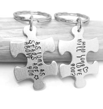 How long will i love you? As long as stars are above you... Puzzle Piece Keyrings