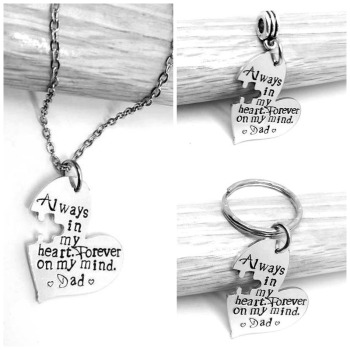 Always in my heart. Forever in my mind. (name) - Necklace/Keyring/Bouquet Charm