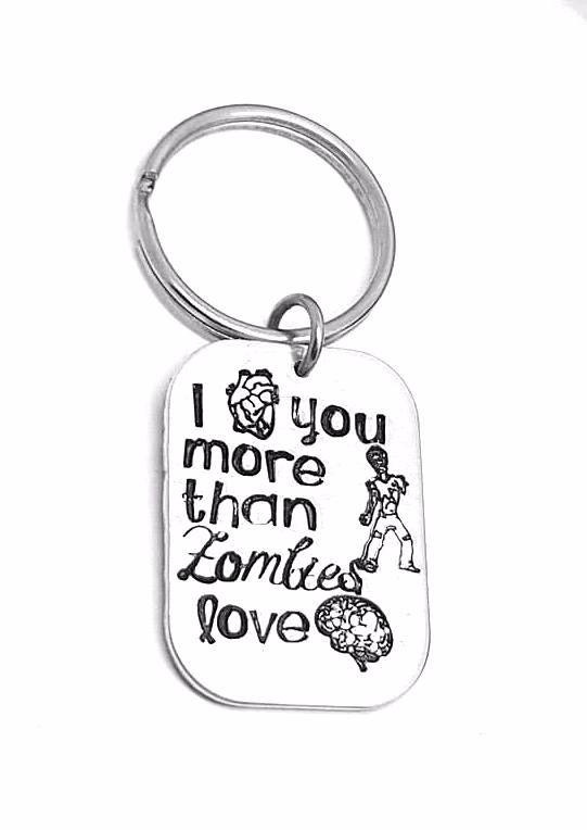 I (heart) you more than zombies love (brains) Keyring