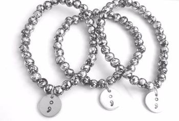 Semicolon Bracelet - Back/Silver Crackle Beads