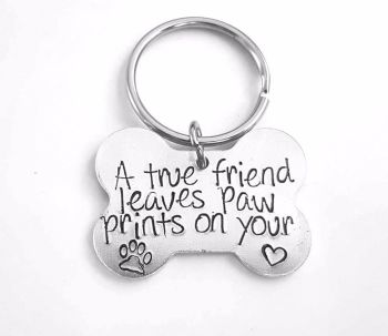 Dog Bone - A True Friend Keyring