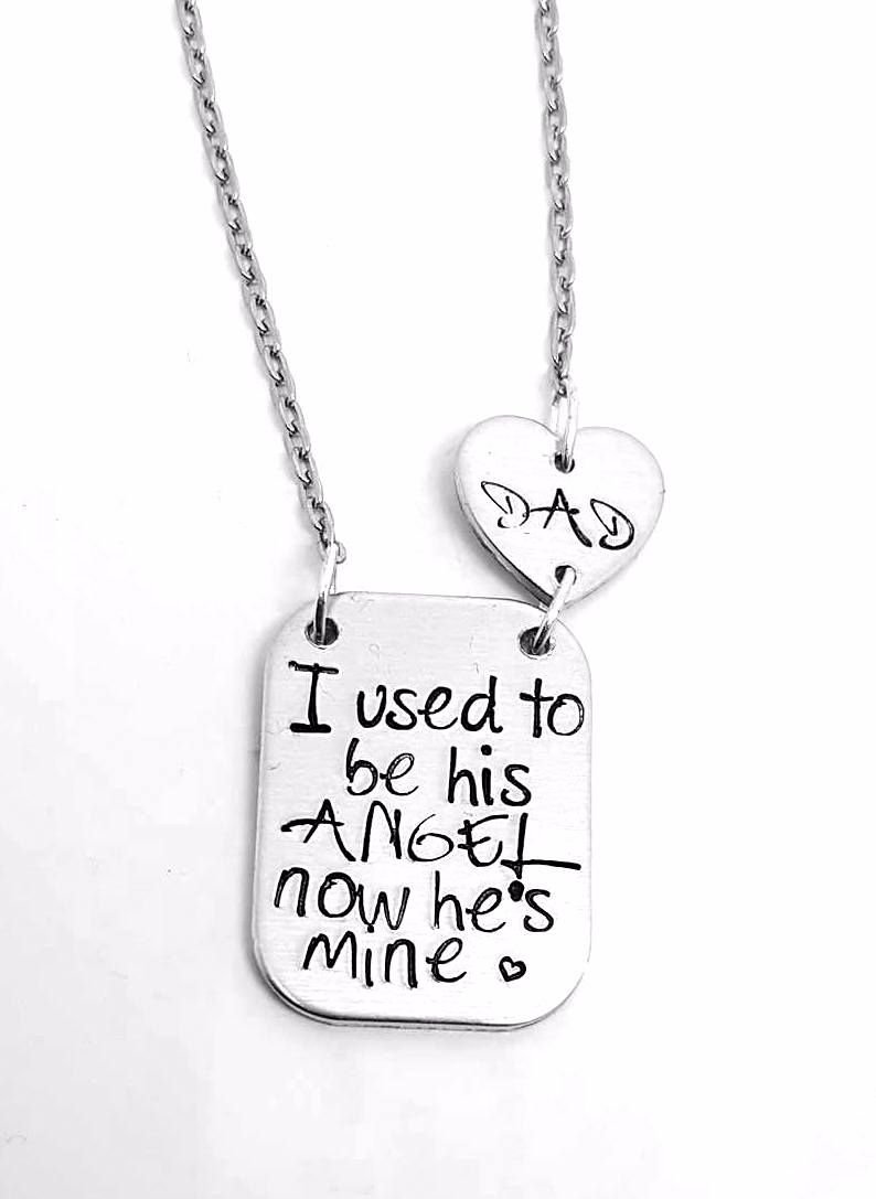 I used to be his angel, now he's mine Necklace - With DAD heart