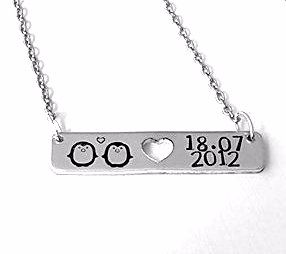 Bar Necklace - Penguins & Date
