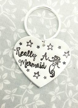 Really A Mermaid Heart Keyring