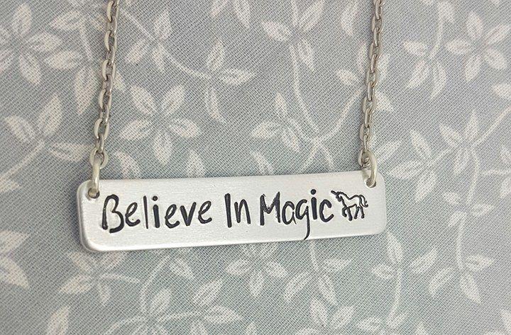 Believe In Magic, Unicorn - Bar Necklace