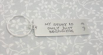 My story is only just beginning.. Semicolon Cut Out Keyring