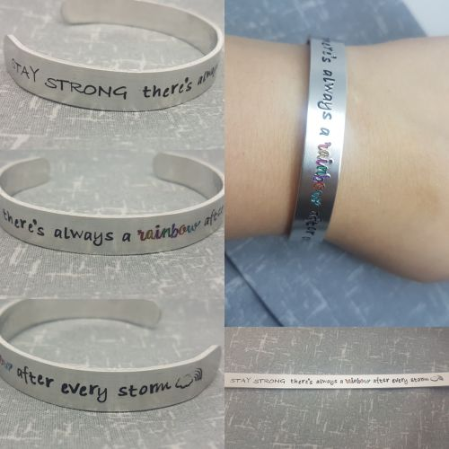 Stay Strong there's always a rainbow after every storm Cuff