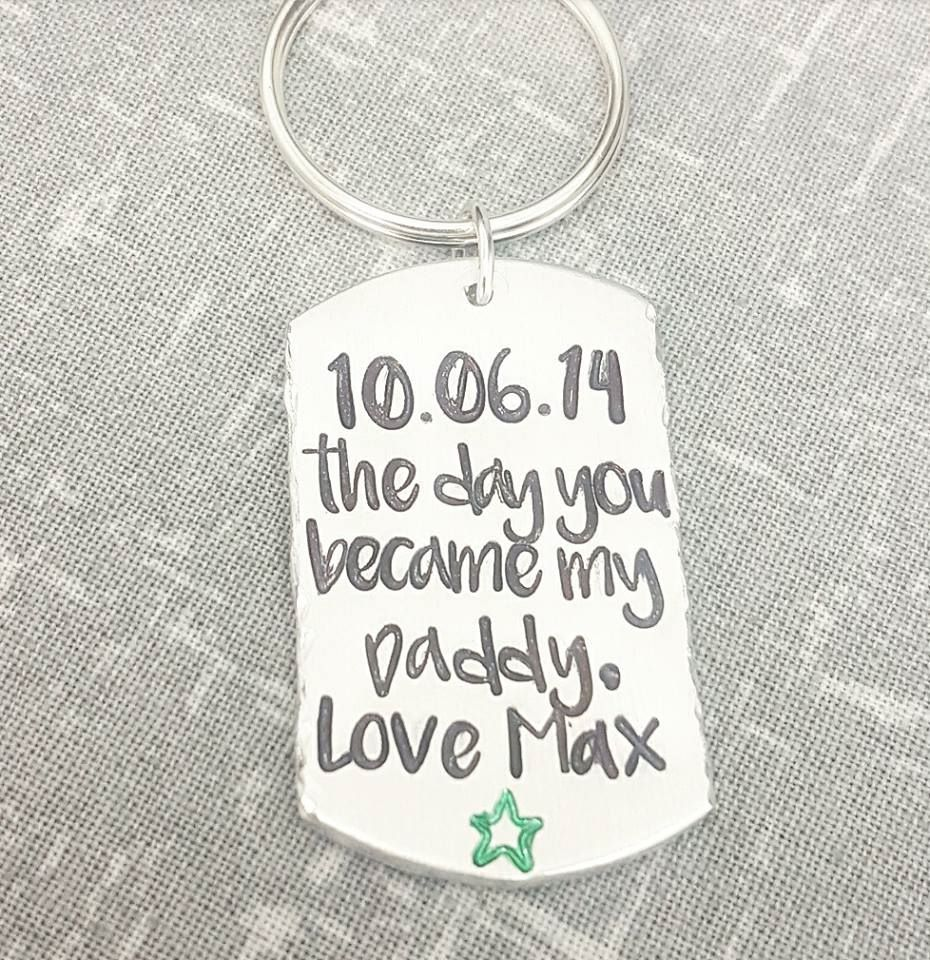 The day you became my Daddy - Date & Name Keyring