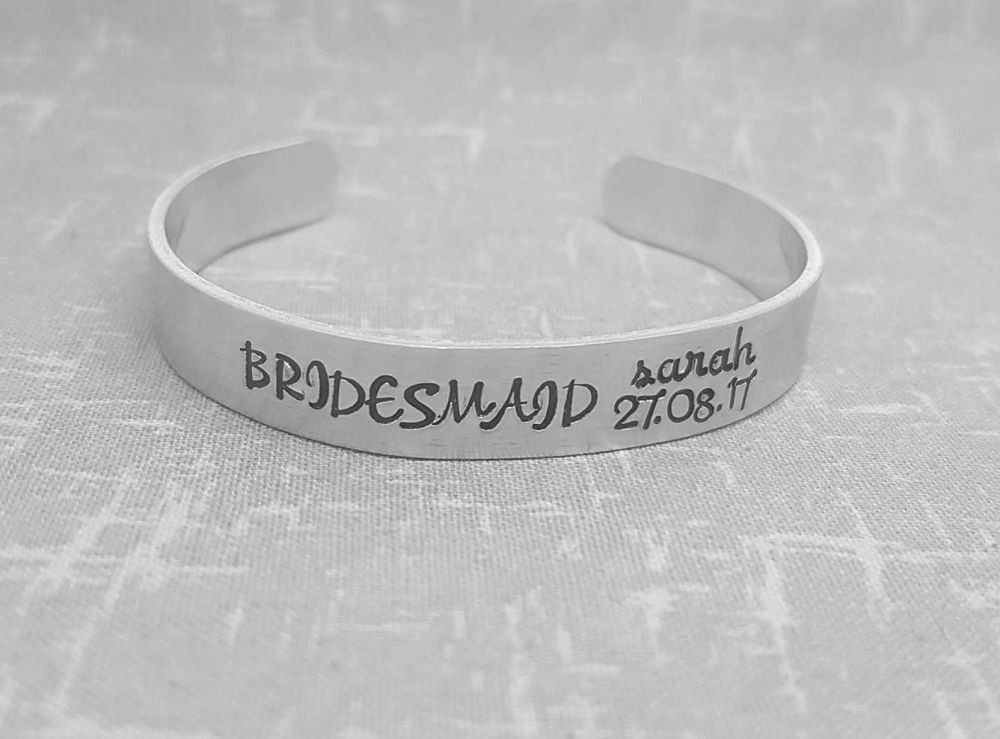 Bridesmaid (Name & Date) Cuff Bracelet