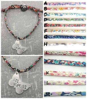 Adjustable Fabric Bracelet - Butterfly Teacher Name Charm
