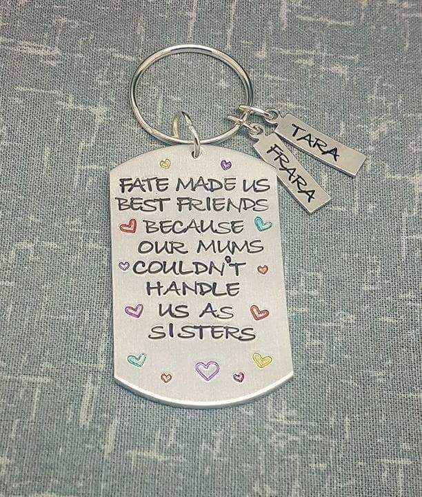 Fate Made Us Best Friends... Keyring with 2 name tags