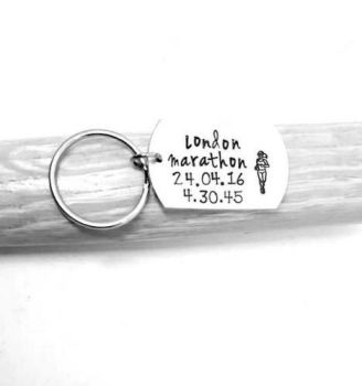 Runner Celebration Marathon Keyring - Personalised to you! - 6 designs available.