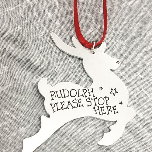 Ruldoph Please Stop Here - Christmas Decoration