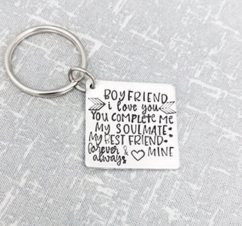 Boyfriend - I Love You - You Complete Me - My Soulmate My Best Friend - Forever & Always - Mine Keyring