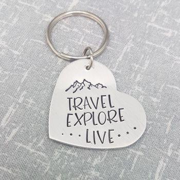 Travel Explore Live Keyring