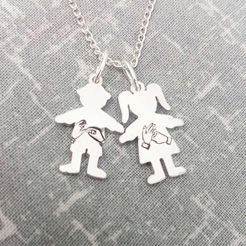 BSL Child Initial Necklace - Boy/Girl Charms