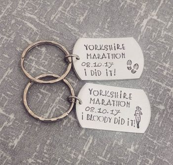 Runner Celebration Marathon Keyring -I did it! (or I bloody did it!)  - 6 designs available.