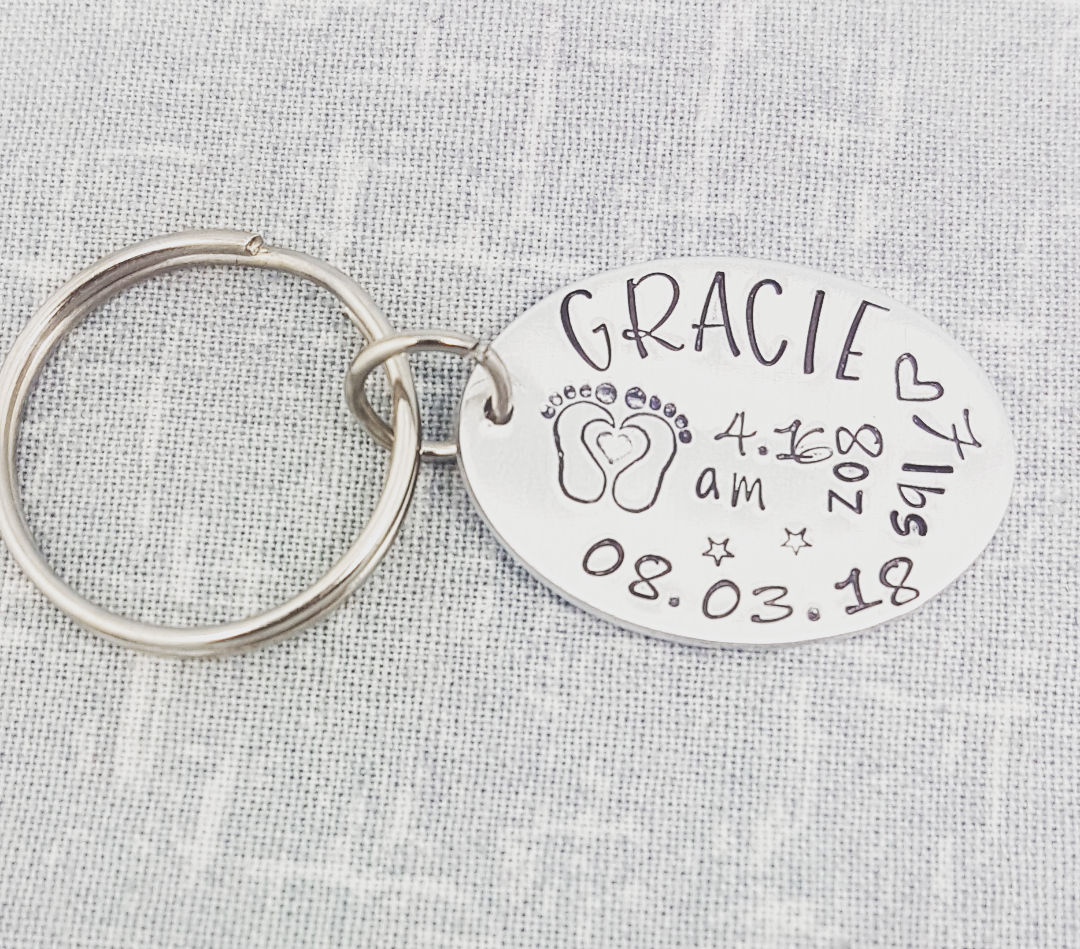 Birth Annoucement Keyring (Oval)