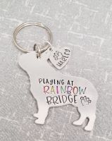 Playing At Rainbow Bridge Dog Keyring - 30+ breeds available