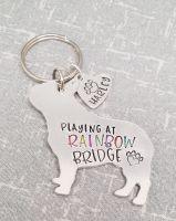 Playing At Rainbow Bridge Dog Keyring - 30+ breeds available