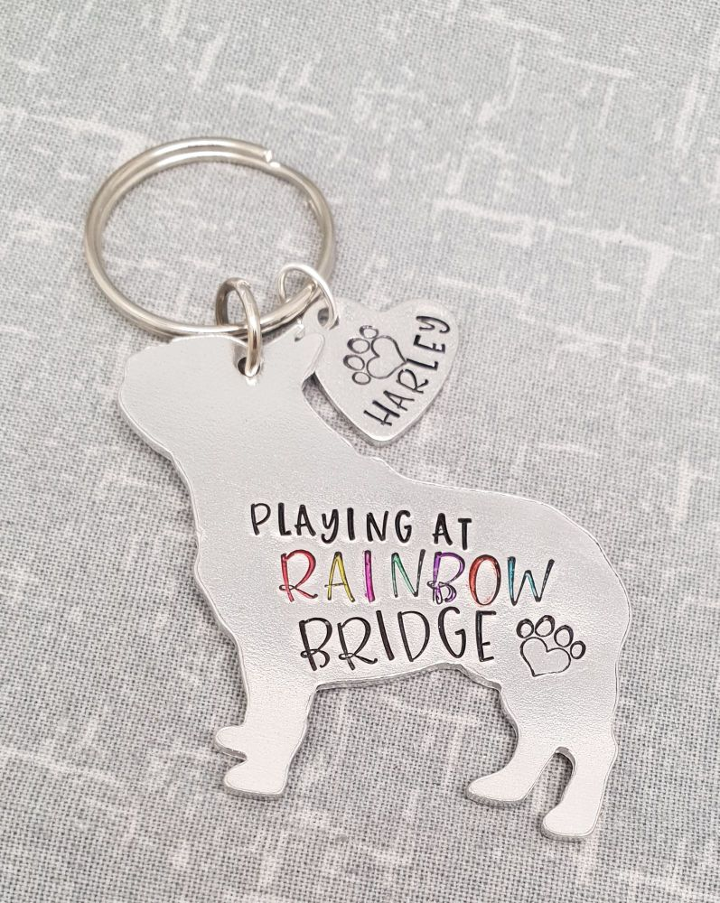 Playing At Rainbow Bridge Keyring - 30+ breeds available